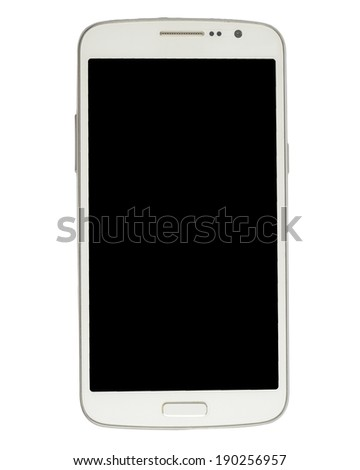 white smart phone isolate - stock photo