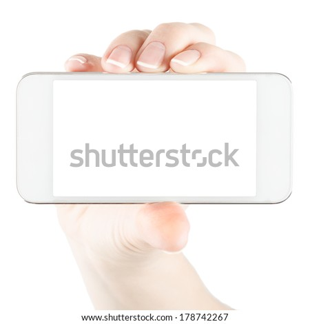 White smartphone in hand - stock photo