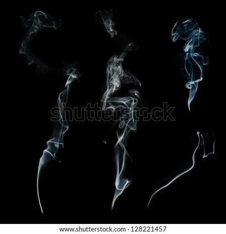 White smoke collection on black background - stock photo
