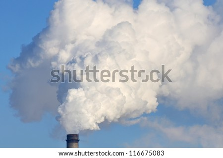 White Smoke Coming from Industrial Smokestack - stock photo