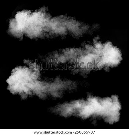 White smoke set isolated on black background - stock photo