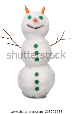 White snowman whith green buttons and carrot. On white background. Clipping path.  - stock photo