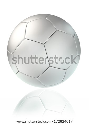 white soccer ball. clipping path included - stock photo