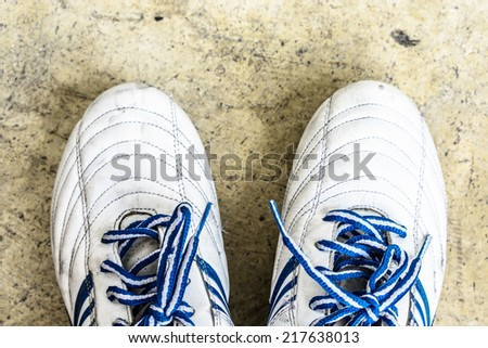 White soccer shoes view from top. - stock photo