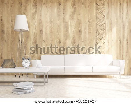 White sofa at wooden wall, standard lamp and table on left. Concept of decoration. Mock up. 3D rendering - stock photo