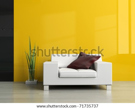 White sofa in a drawing room 3d image - stock photo