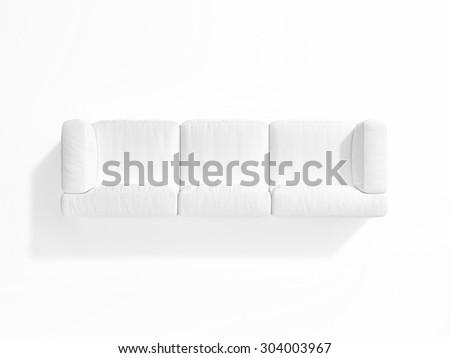 White sofa on white background, top view, 3d render - stock photo