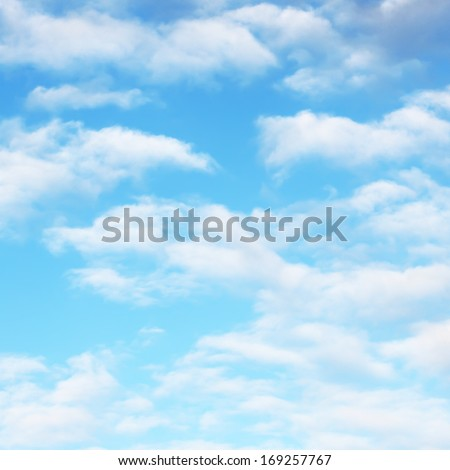 White soft clouds on sky - stock photo