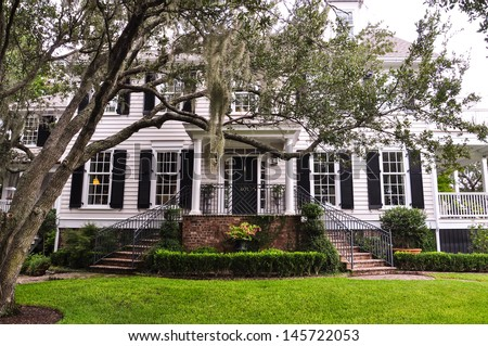 white southern mansion with chokeweed laden tree - stock photo