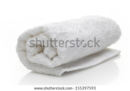 white spa towels on a white background - stock photo