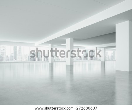 White space interior with large windows. 3d render - stock photo