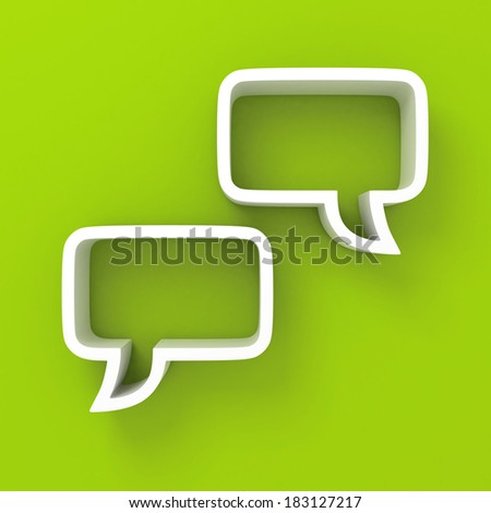 white speech bubbles on green background. 3d render illustration - stock photo