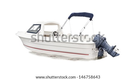 white speed boat isolated background for multipurpose - stock photo