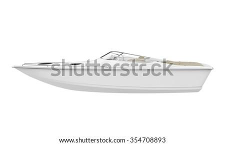 White Speedboat Isolated - stock photo