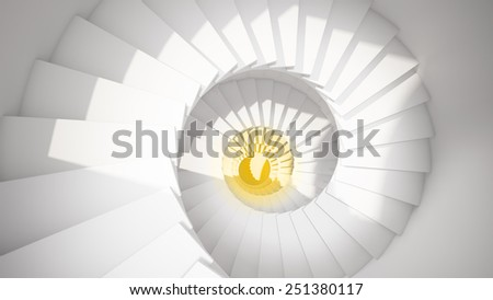 White spiral stairs in sun light and yellow center abstract 3d interior - stock photo