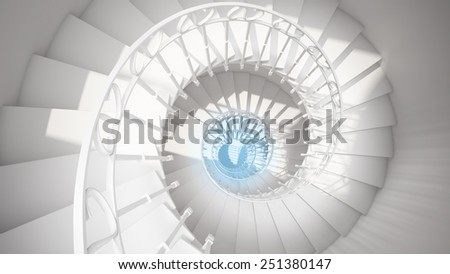 White spiral stairs with rails in sun light and blue center abstract 3d interior - stock photo