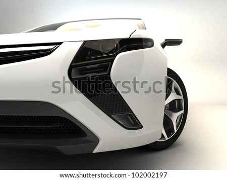 White sport car - stock photo