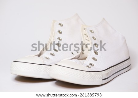 white sport shoes - stock photo