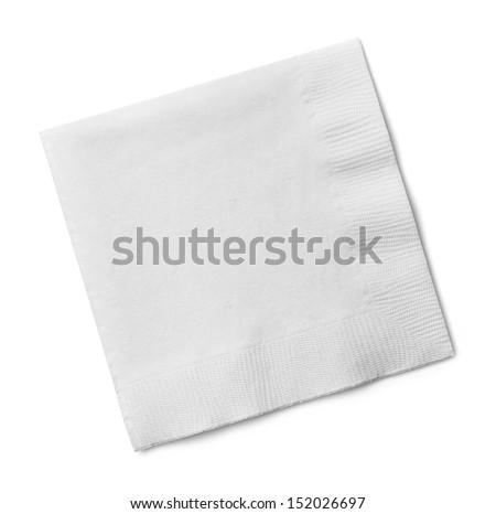 White Square Bar Napkin Isolated on White Background. - stock photo