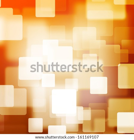 White square bokeh on orange and brown background with vignette - stock photo