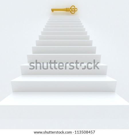 White Staircase With Golden Key - stock photo