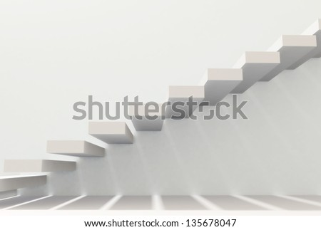 White stairs in interior - stock photo