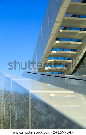 White stairs on the exterior of a modern office building. - stock photo