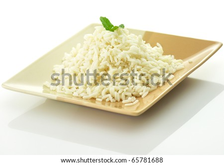 White steamed rice in a dish - stock photo