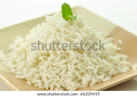 White steamed rice in a dish close up - stock photo