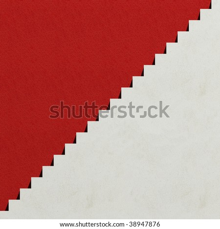 White steps and red wall - stock photo