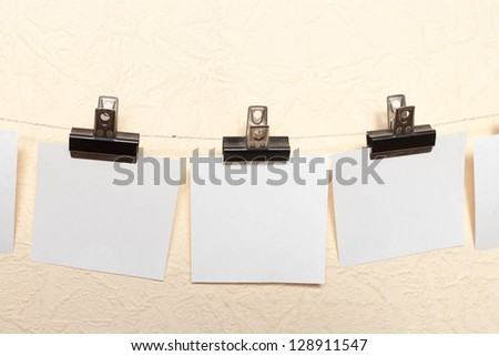 White Sticker announce photo drawing beige wall - stock photo