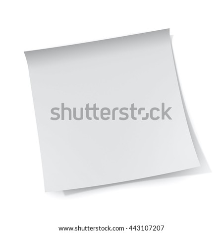 White sticky note paper isolated on white background with shadow. 3D rendering. - stock photo