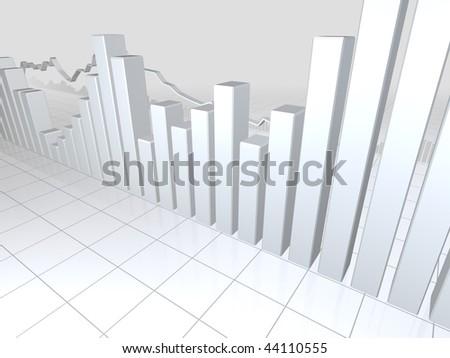 White Stock Market Graphs - stock photo
