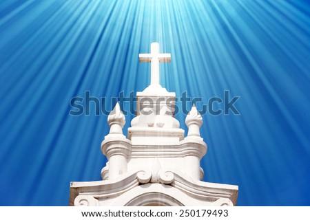 White stone christian cathedral. - stock photo