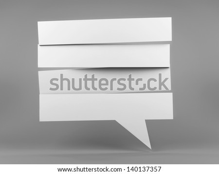 White strip blank speech bubble, three-dimensional rendering - stock photo