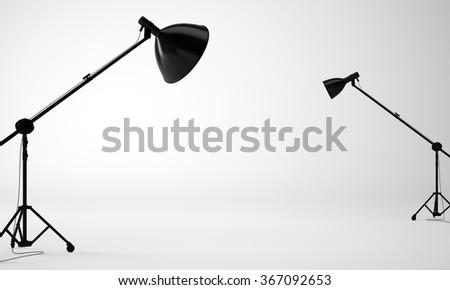 White studio room with equipment, nobody. 3d render - stock photo