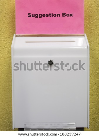 White suggestion box with slot and lock - stock photo