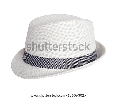 white summer hat isolated on white background - stock photo