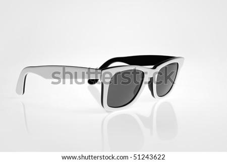 White sunglasses isolated - stock photo