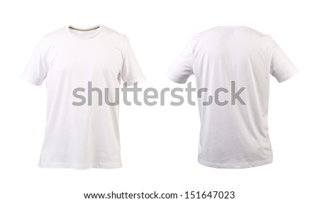 White t-shirt. Front and back. - stock photo
