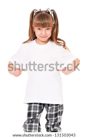 White T-shirt on a cute little girl, isolated on white background - stock photo