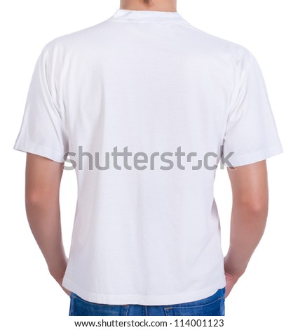 white t-shirt on a young man. back - stock photo