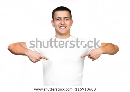 white t-shirt on a young smiling man isolated - stock photo