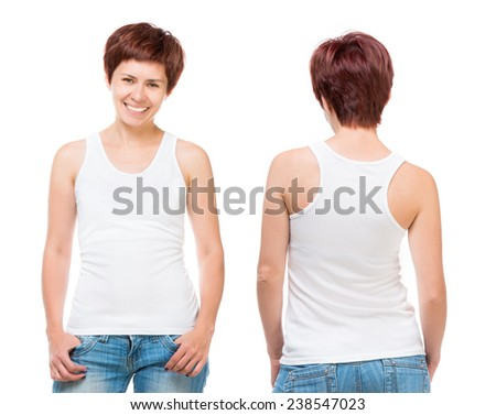 White t-shirt on a young woman template isolated on white background - stock photo