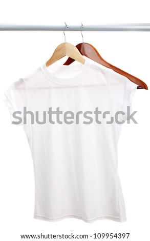 White t-shirt on hanger isolated on white - stock photo