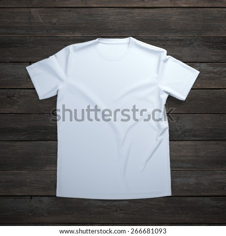 White t-shirt on wooden background - stock photo