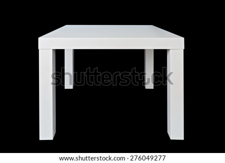 White table isolated on a black background - stock photo
