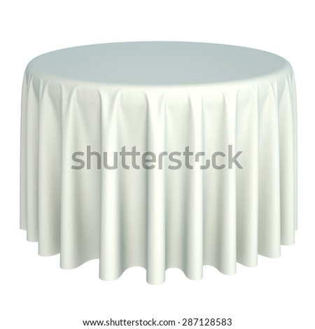 white tablecloth. isolated on white background. - stock photo