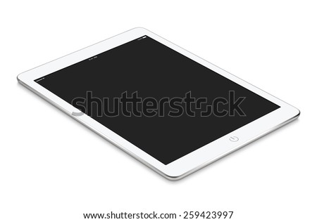 White tablet computer with blank screen mockup lies on the surface, isolated on white background. Whole image in focus, high quality. - stock photo