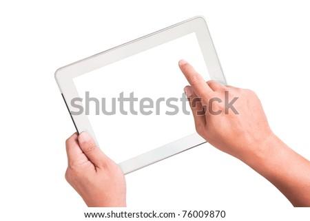 White Tablet PC - stock photo